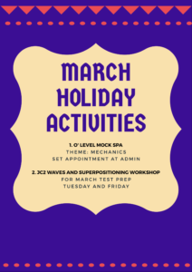 March holiday activitieS